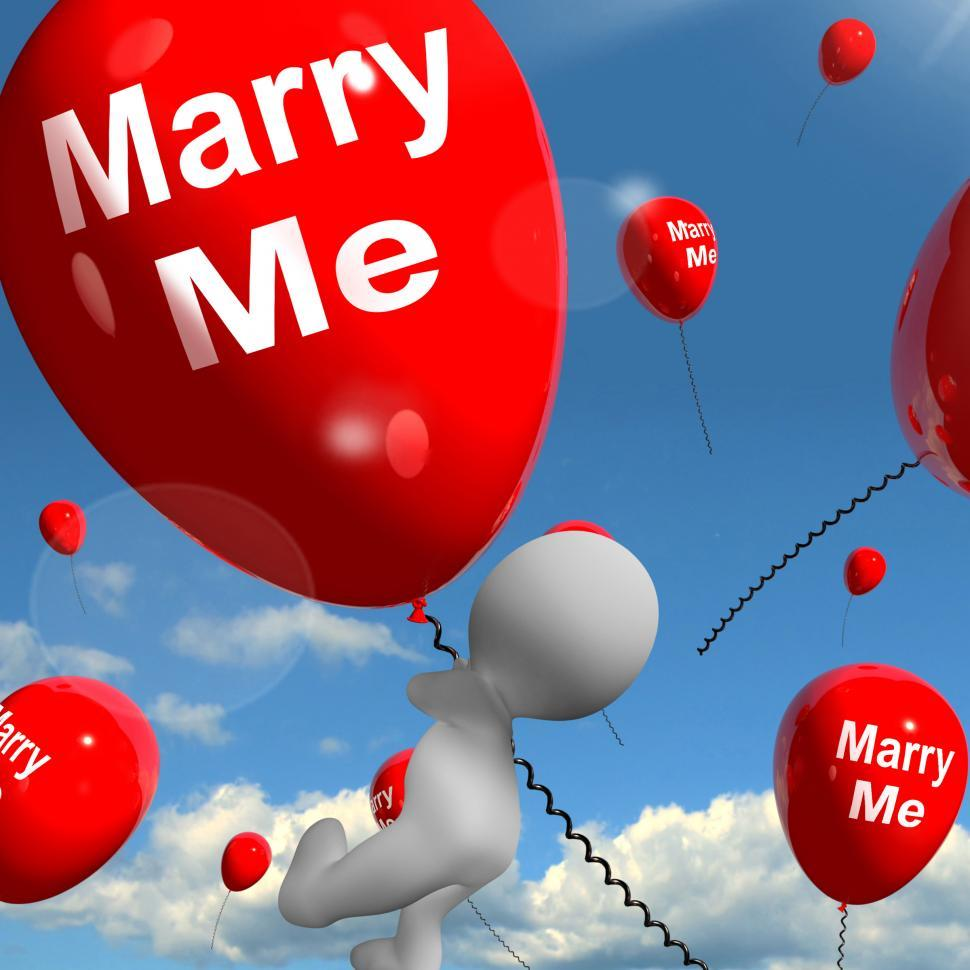 Download Free Stock HD Photo of Marry Me Balloons Represents Engagement Proposal for Lovers Online