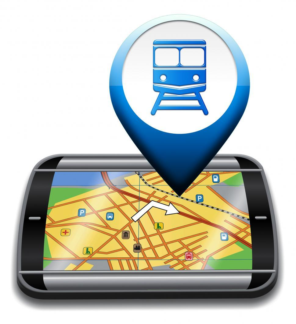Download Free Stock HD Photo of Railway Station Gps Represents Rail Direction And Journey Online