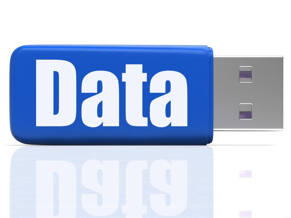 Download Free Stock HD Photo of Data Pen drive Shows Digital Information And Dataflow Online