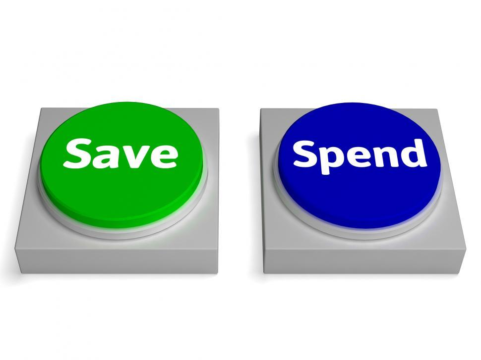 Download Free Stock HD Photo of Save Spend Buttons Shows Saving Or Spending Online