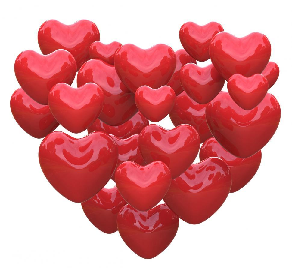 Download Free Stock HD Photo of Heart Made With Hearts Shows Romance Love And Passion Online