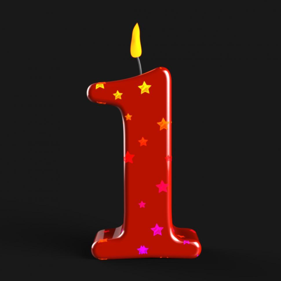 Free image of Number One Candle Showing One Year Anniversary Or Birthday