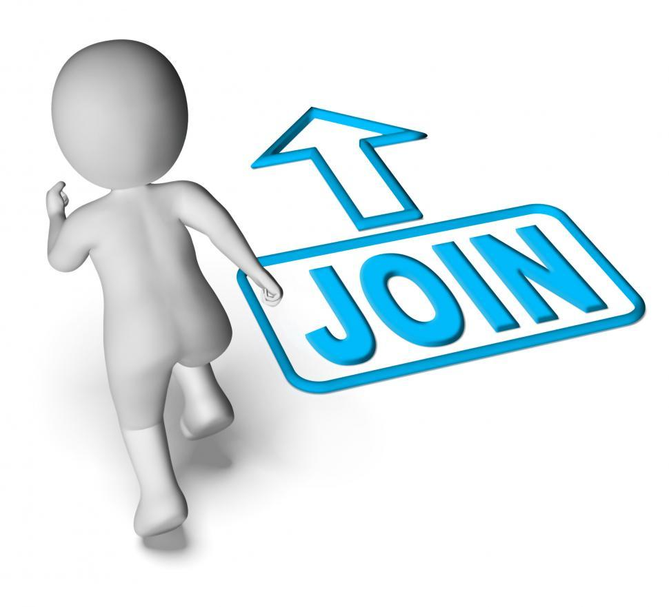 Download Free Stock HD Photo of Join And Running 3D Character Shows Joining Membership Register Online