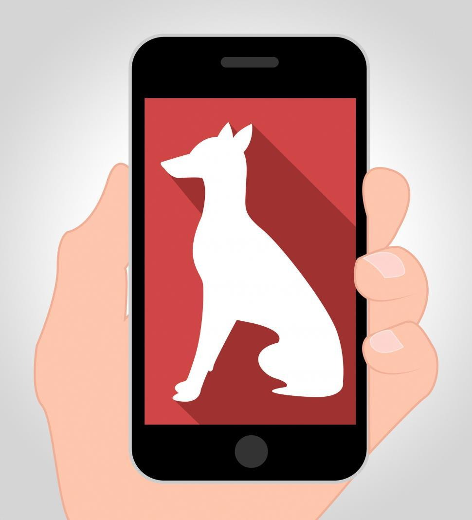 Download Free Stock HD Photo of Dogs Online Means Canine Phone 3d Illustration Online