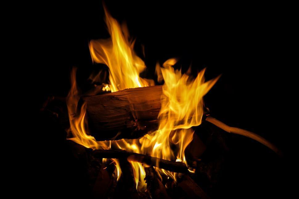 Free image of Campfire at Night. Burning wood.