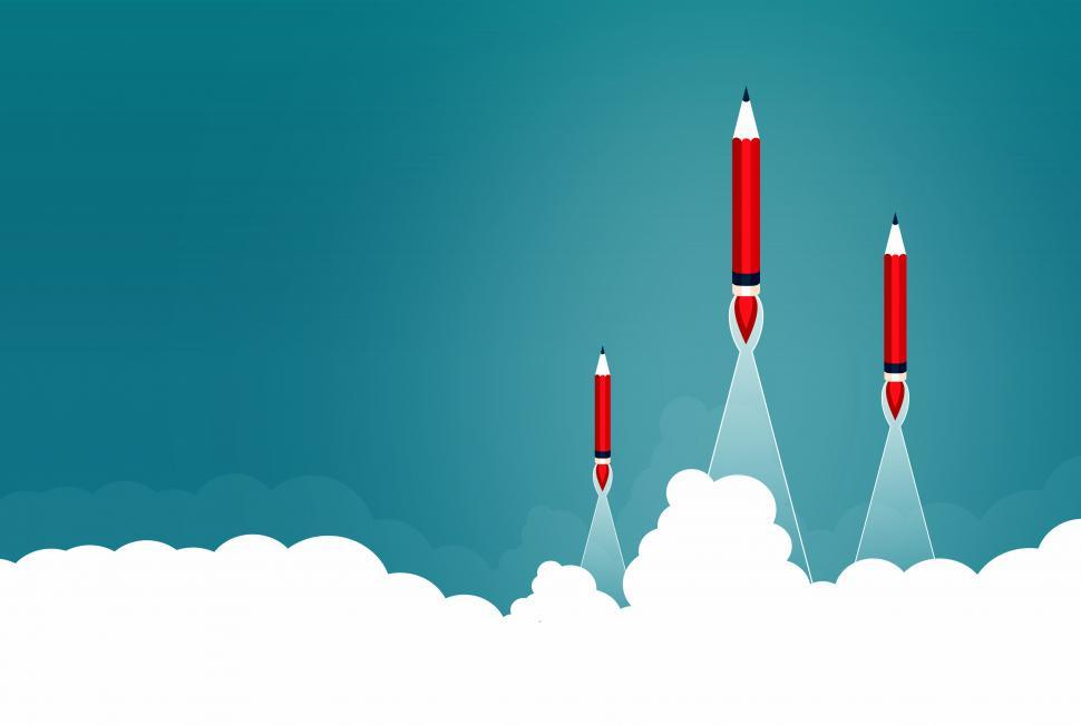 Download Free Stock HD Photo of Creative Start and Start-Up Concept with Rocket Pencils - Copysp Online