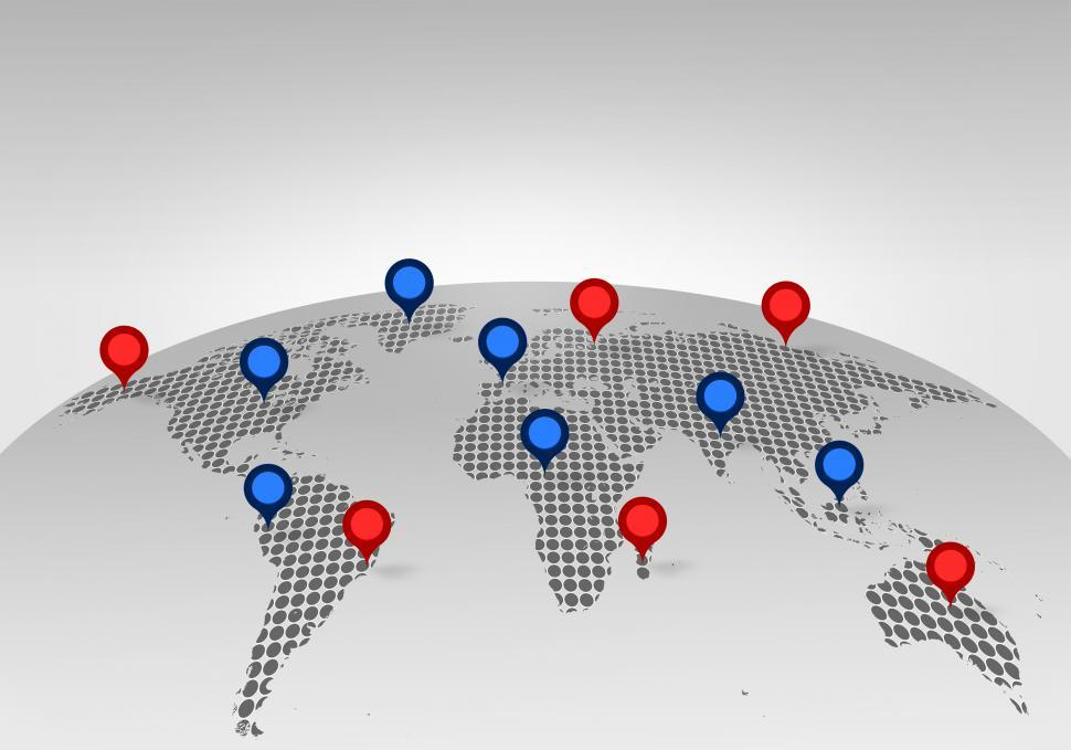 Download Free Stock HD Photo of World Map with Place Markers - Globalization Concept Online