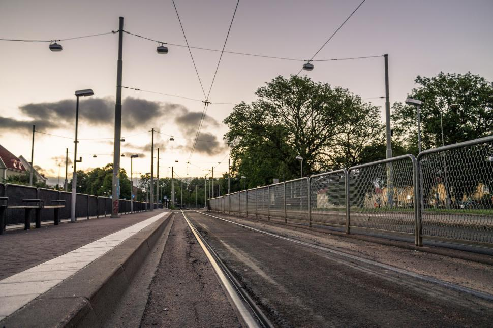 Free image of Metro train station at sunrise in the city of Gothenburg, Sweden. Railroad at empty train station.