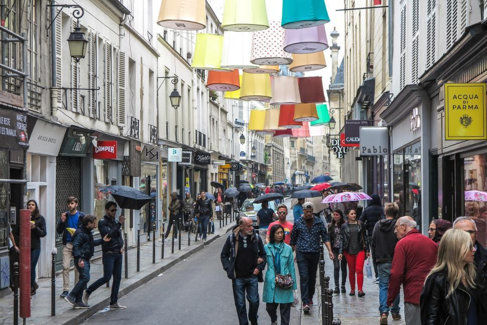 Download Free Stock HD Photo of Paris street with pedestrians Online