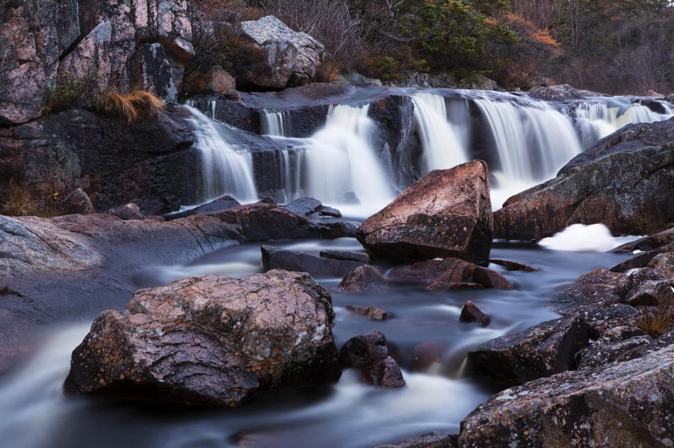 Download Free Stock HD Photo of Waterfall in river with rocks. Online