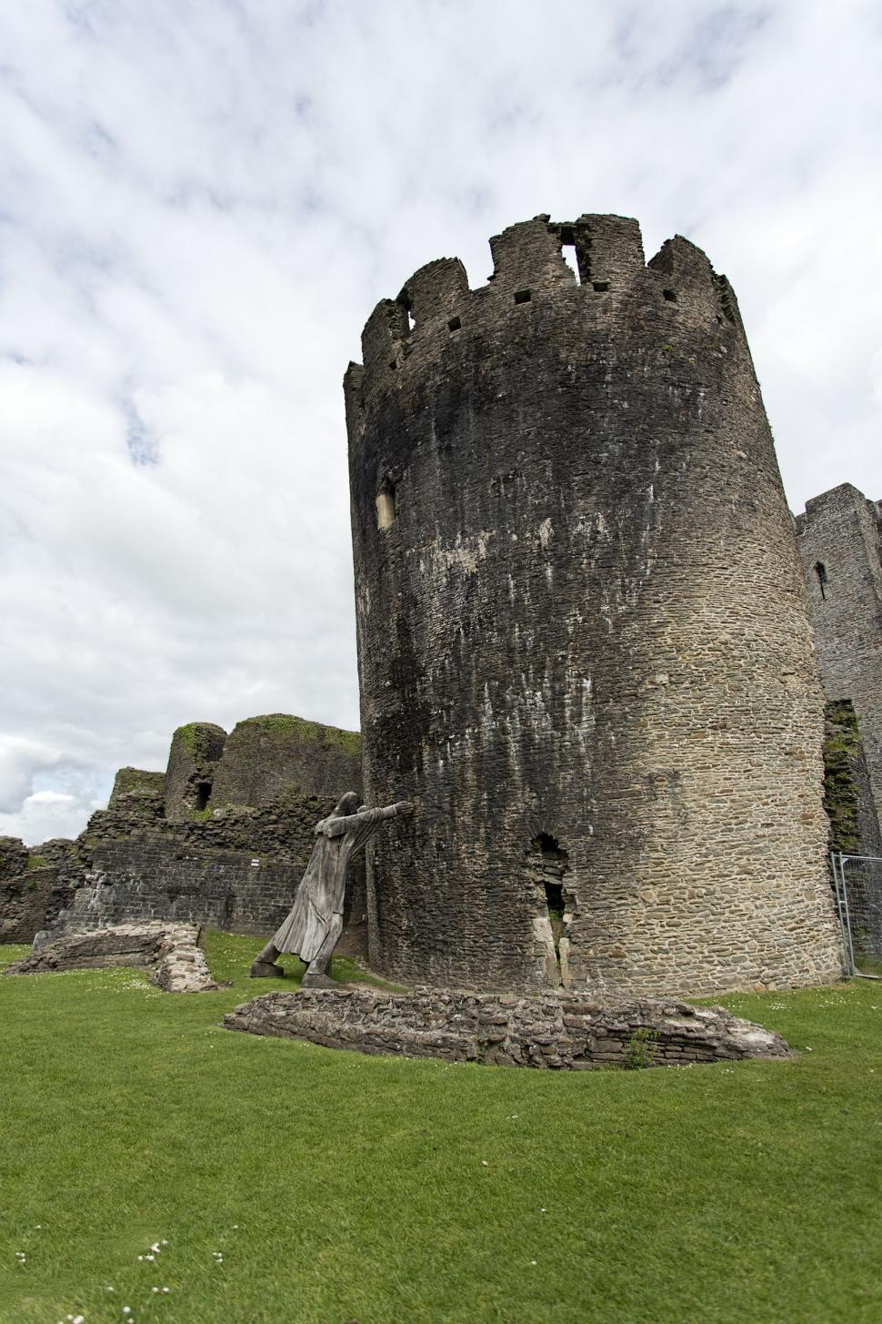 Download Free Stock HD Photo of Knight keeping up tower at Caerphilly castle Online