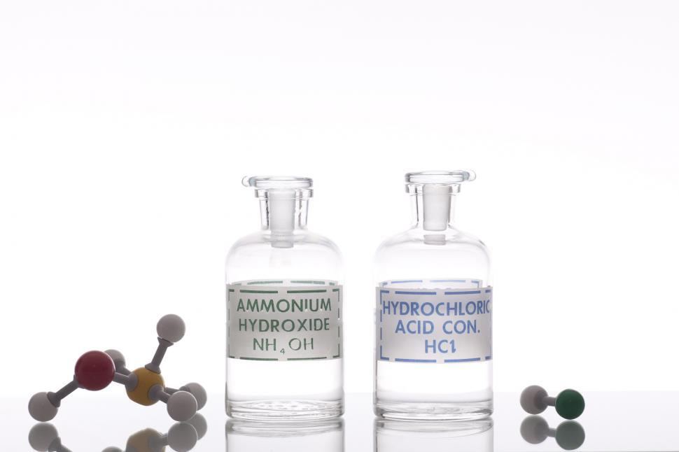 Download Free Stock HD Photo of Ammonium hydroxide and hydrochloric acid solutions Online