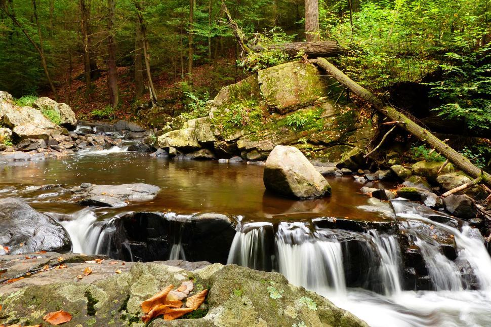 Download Free Stock HD Photo of Small Waterfall in stream  Online