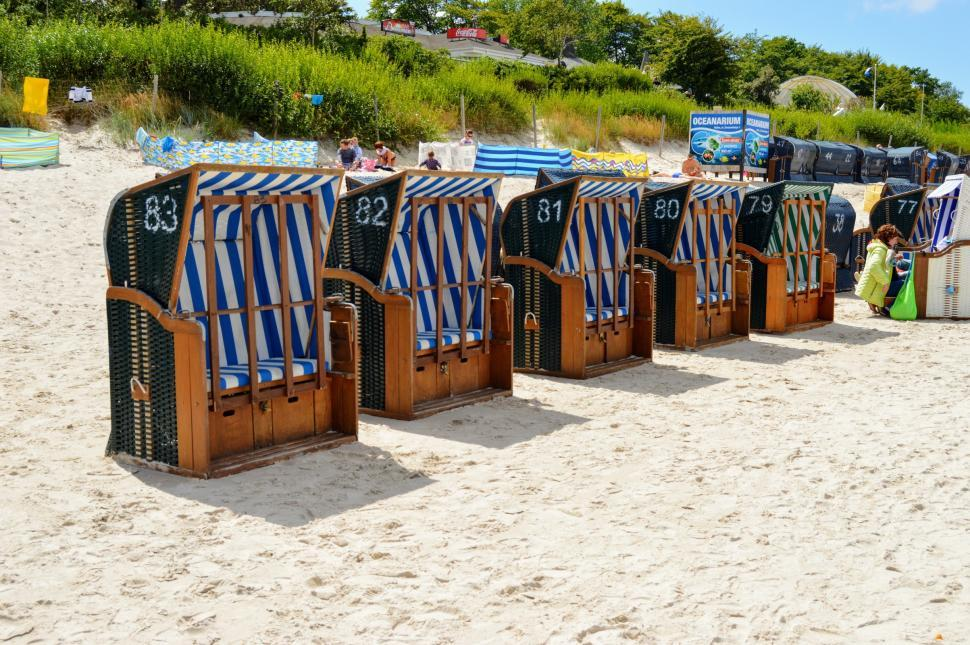 Download Free Stock HD Photo of Sun beds - basket on a sandy beach. Baltic Sea  Online