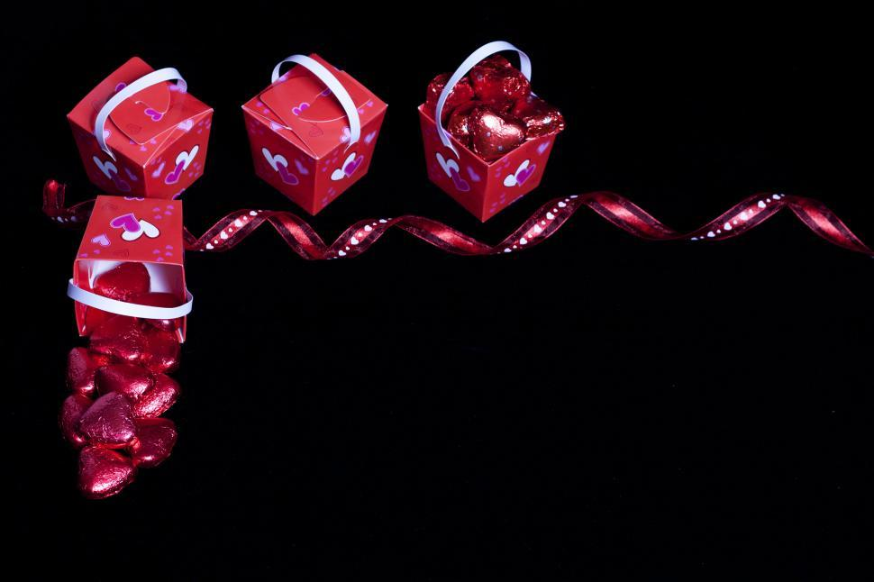 Download Free Stock HD Photo of Valentine s Day Candy, Ribbon and Boxes Online