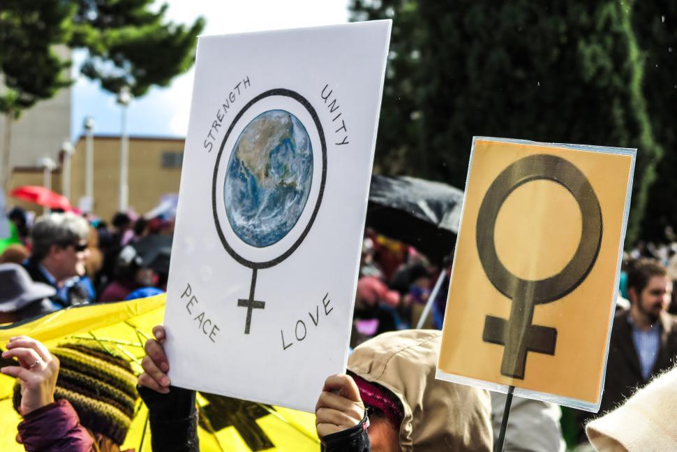 Download Free Stock HD Photo of Two Women s rights signs Online