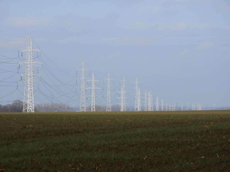 Download Free Stock HD Photo of Overhead power lines on horizon Online