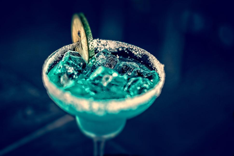 Download Free Stock HD Photo of Blue Cocktail in Martini a Glass - Tilt Shift Effect Online