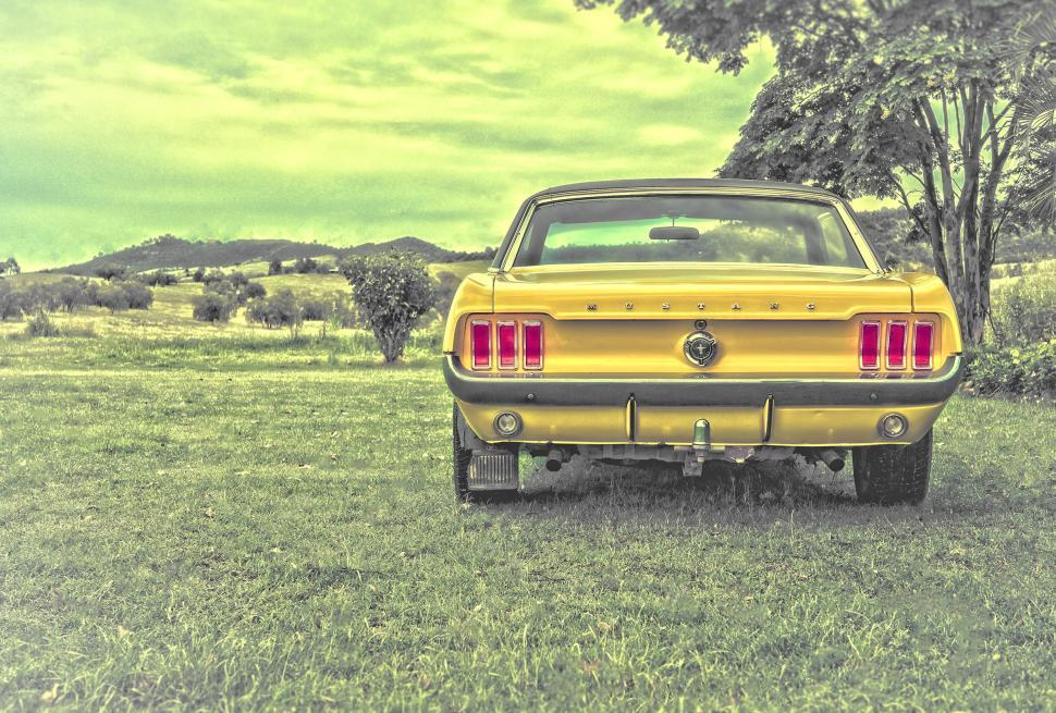 Download Free Stock HD Photo of Yellow Ford Mustang - Vintage Car Online