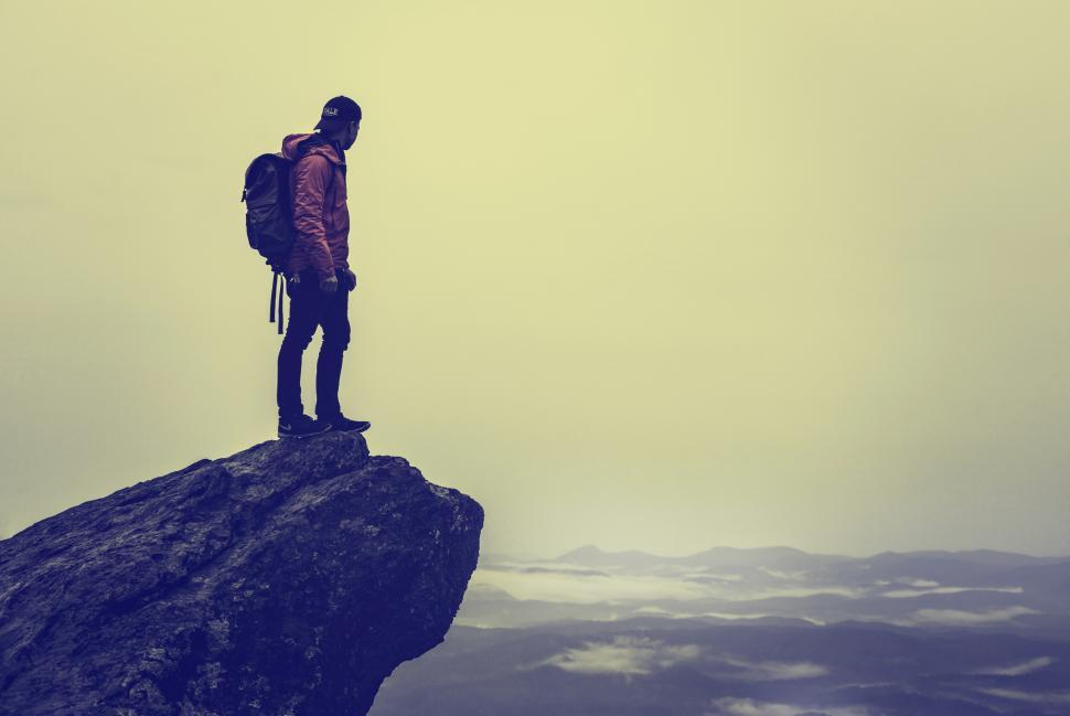 Download Free Stock HD Photo of Backpacker Enjoying View From the Summit - Adventure and Challen Online