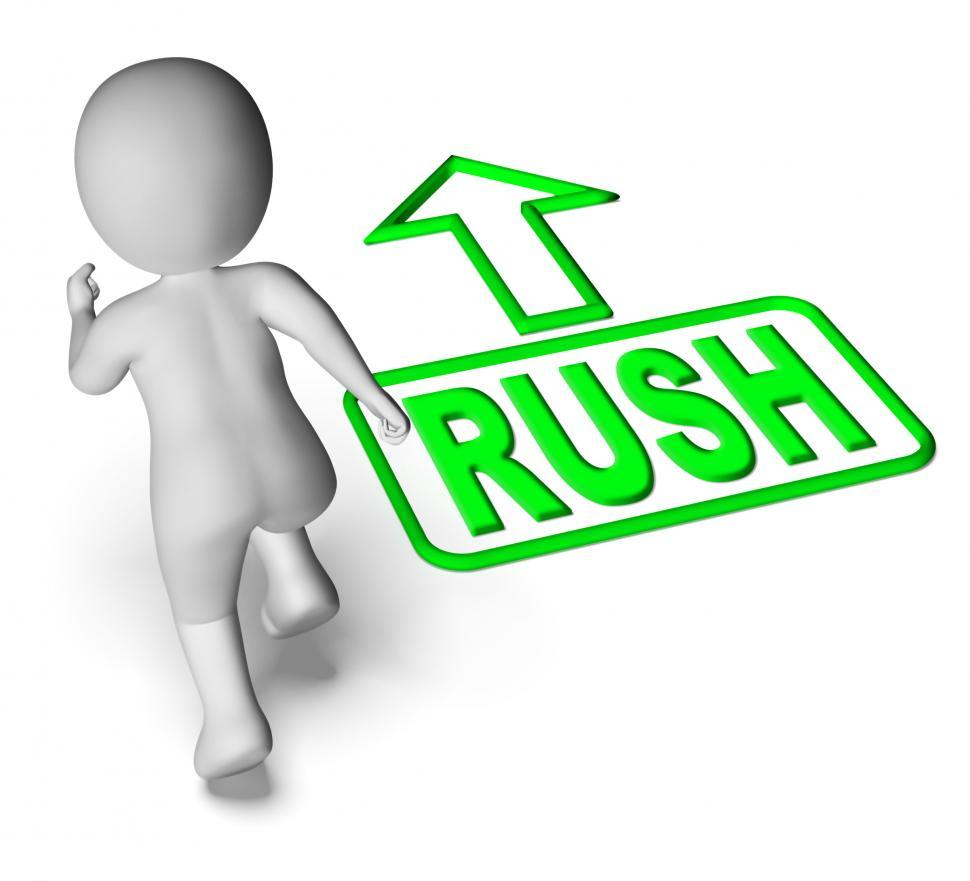 Download Free Stock HD Photo of Rush And Running 3D Character Shows Urgent Hurry Priority Online