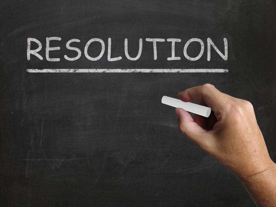 Download Free Stock HD Photo of Resolution Blackboard Means Solution Settlement Or Outcome Online