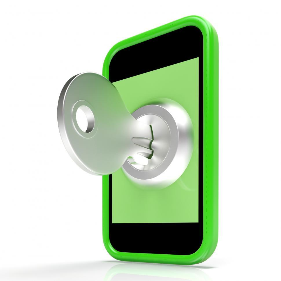 Download Free Stock HD Photo of Security Key On Mobile Shows Encryption And Privacy Online