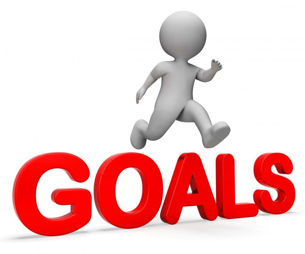 Download Free Stock HD Photo of Jump Goals Represents I Did It And Improve 3d Rendering Online