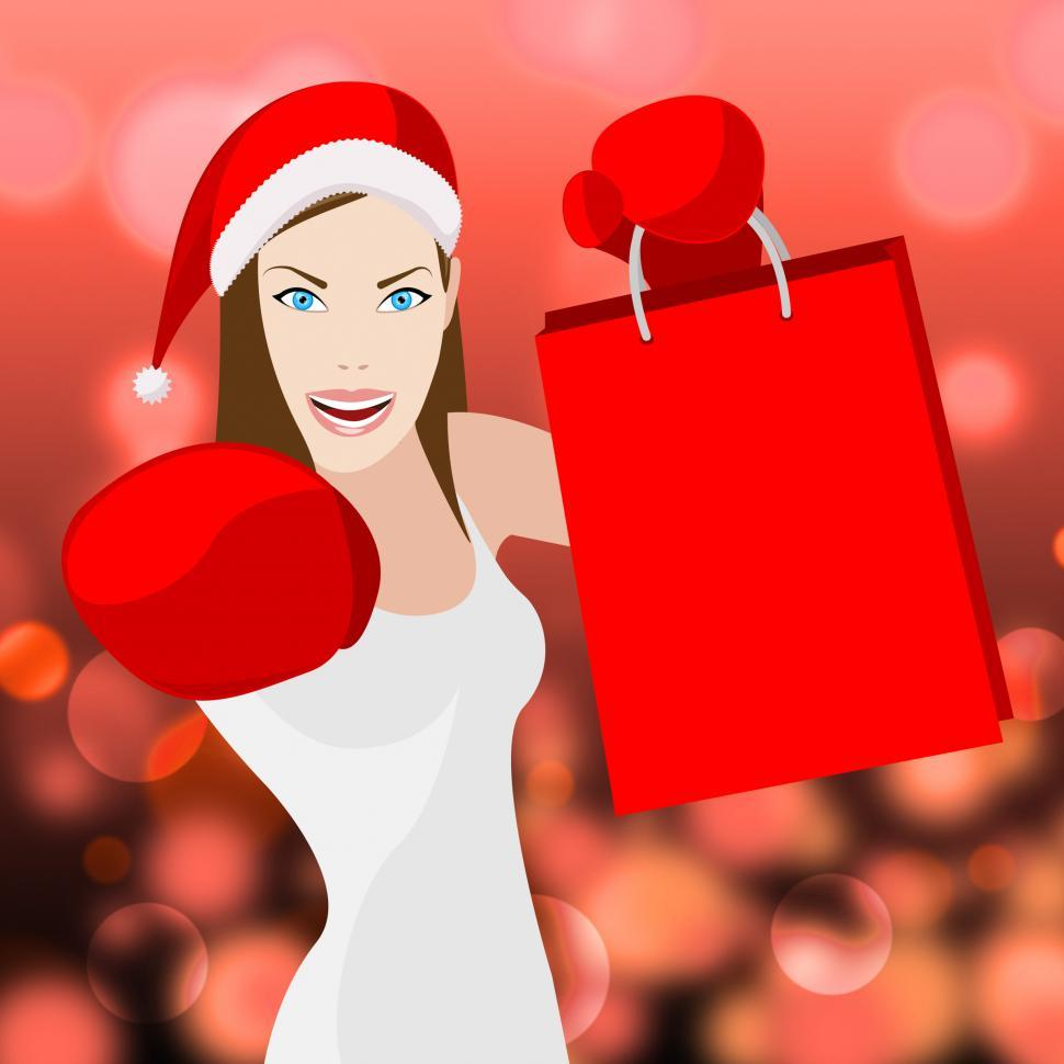 Download Free Stock HD Photo of Christmas Shopping Woman Shows Retail Sales And X-Mas Online