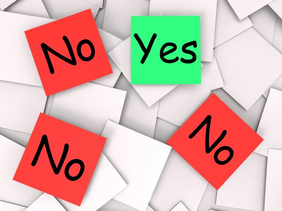 Download Free Stock HD Photo of Yes No Post-It Notes Mean Positive Or Negative Response Online