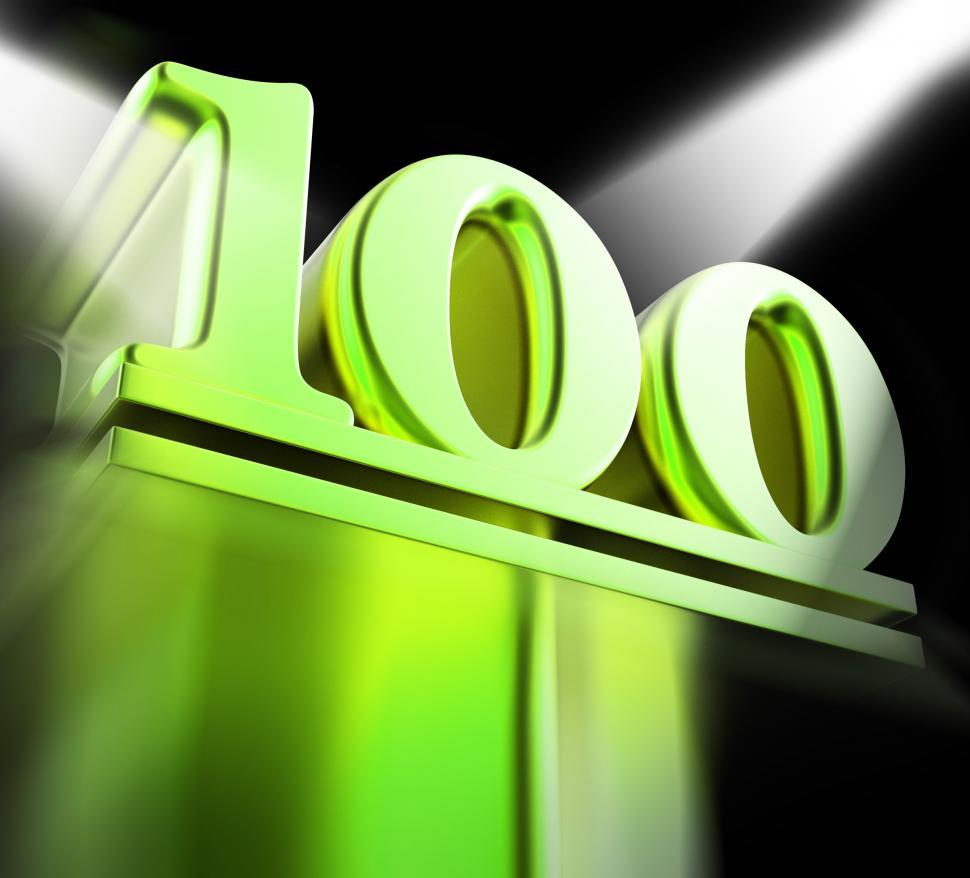 Download Free Stock HD Photo of Golden One Hundred On Pedestal Displays Century Anniversary Or R Online