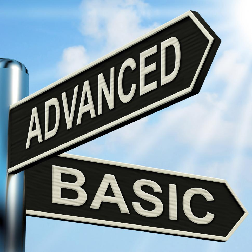 Download Free Stock HD Photo of Advanced Basic Signpost Shows Product Versions And Prices Online