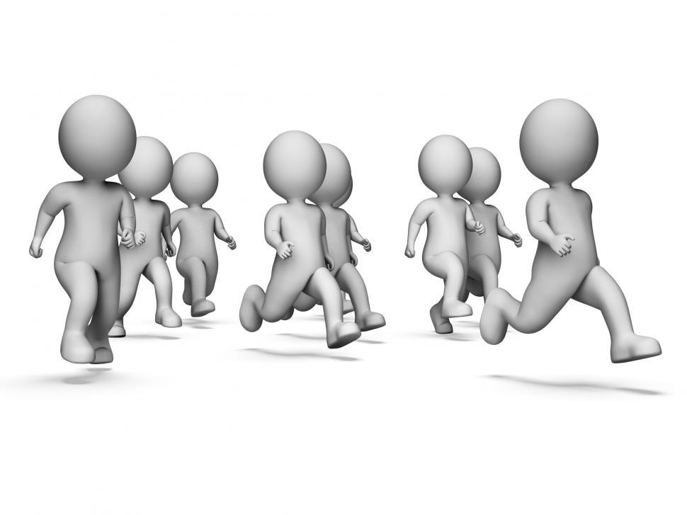Download Free Stock HD Photo of Health Running Means Get Fit And Characters 3d Rendering Online