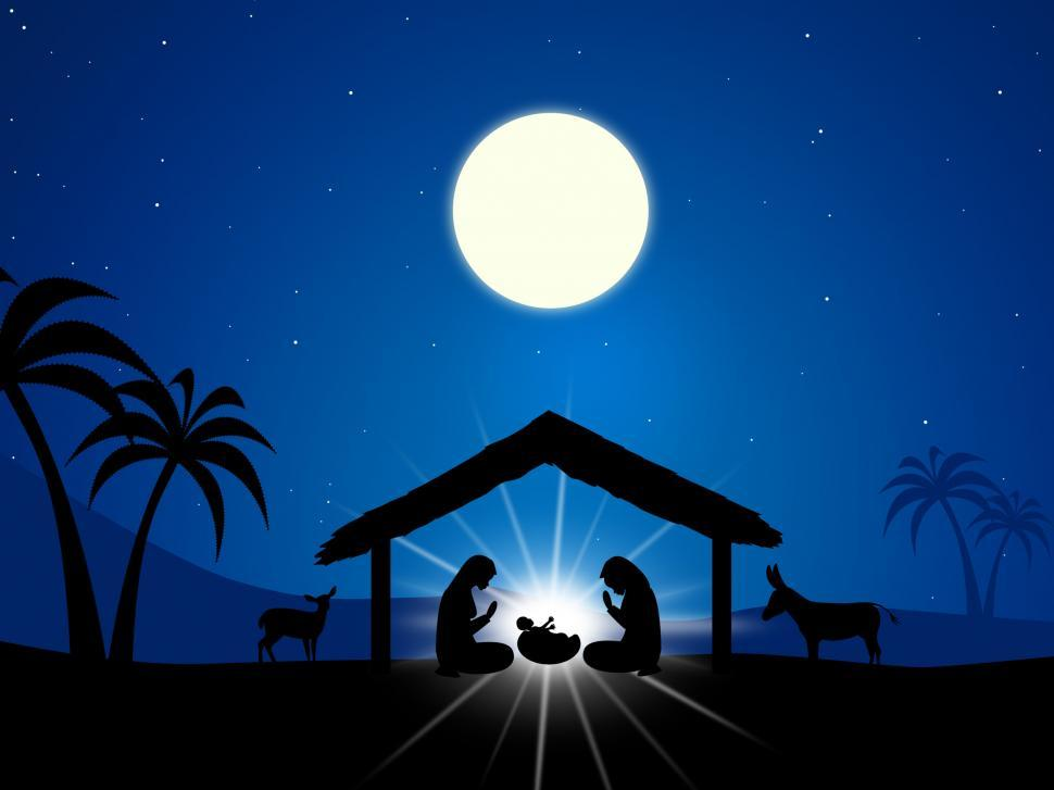 Download Free Stock HD Photo of Jesus Manger Shows Birth Of Christ And Christianity Online