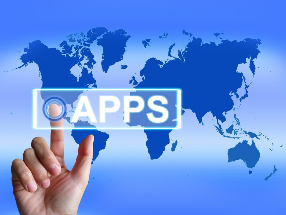 Download Free Stock HD Photo of Apps Map Represents International and Worldwide Applications Online