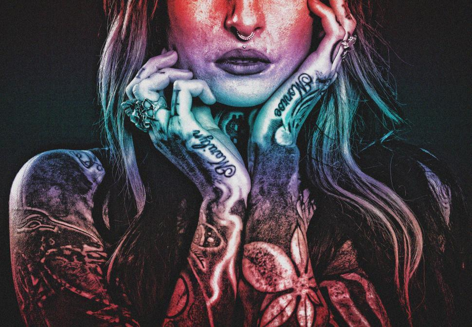 Download Free Stock HD Photo of Tattooed Woman - Grunge Noisy Looks Online