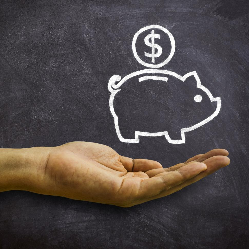 Download Free Stock HD Photo of Piggy Bank on Blackboard - Savings and Economies Concept Online