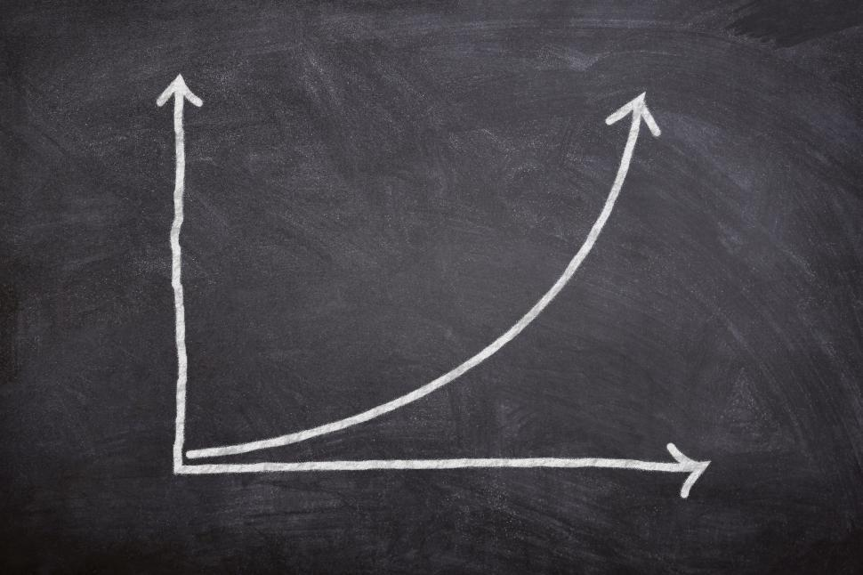 Download Free Stock HD Photo of Compound Interest - A Rising Financial Curve on Blackboard Online