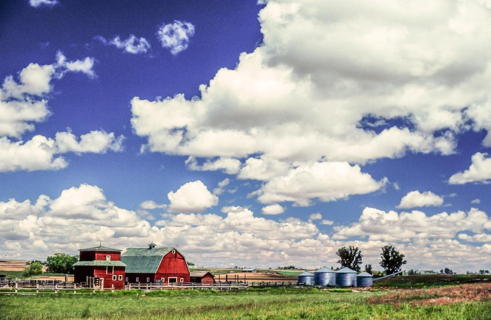 Download Free Stock HD Photo of White Clouds over Farmland Online