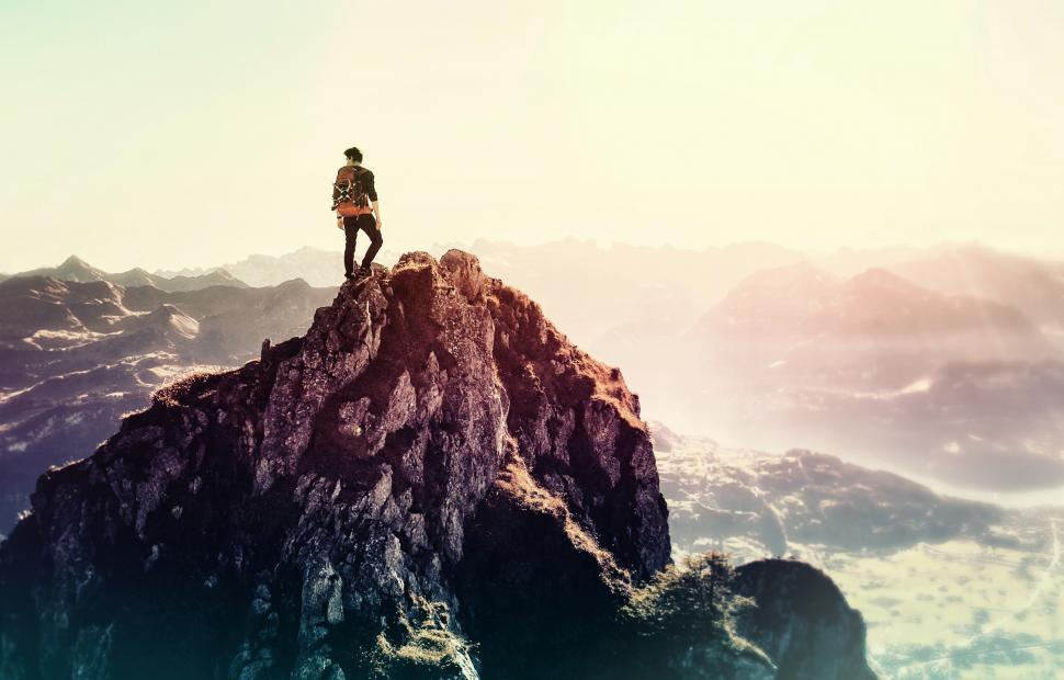 Download Free Stock HD Photo of Man on the Summitt - Achiever Online