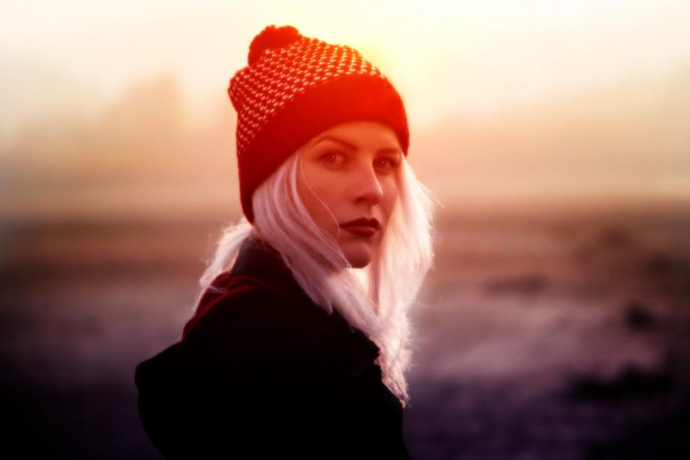 Download Free Stock HD Photo of  Young Blond Woman with Beanie in Winter Online