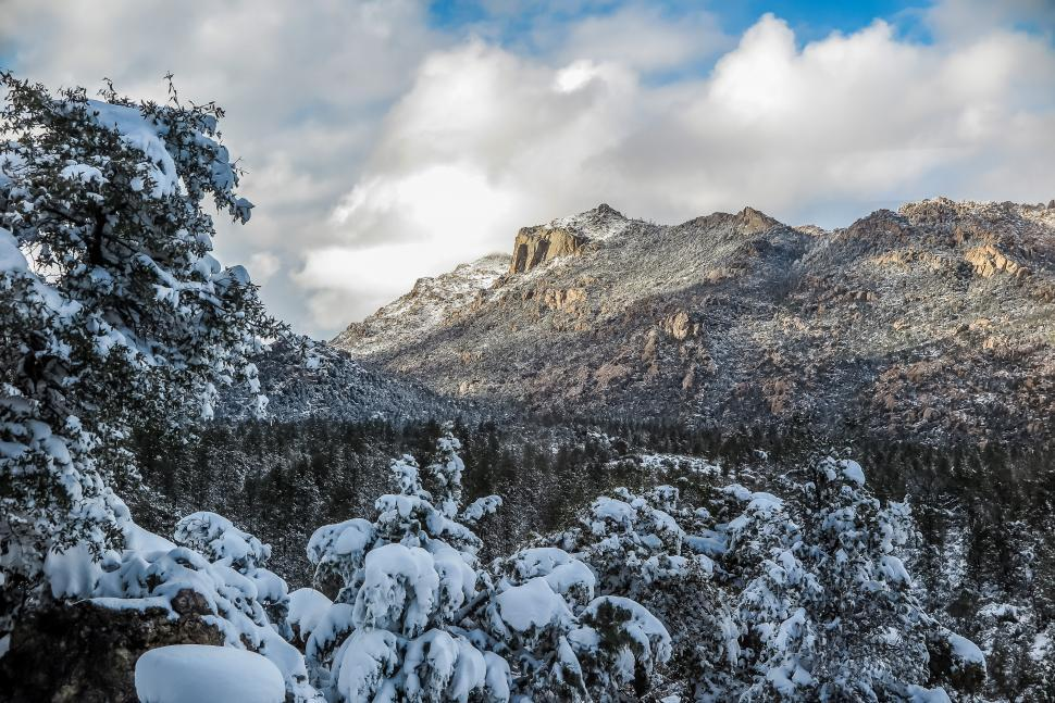 Download Free Stock HD Photo of Fresh showfall over Granite Mountain Online