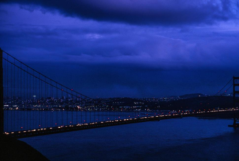 Download Free Stock HD Photo of Golden Gate Bridge and Bay at Night Online