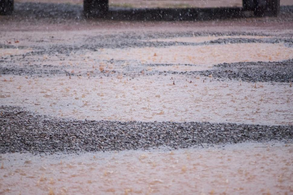Download Free Stock HD Photo of Muddy puddle in the rain downpour Online