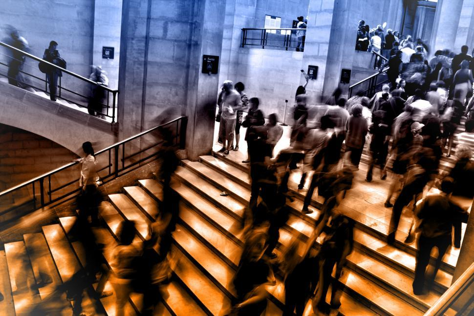 Download Free Stock HD Photo of People at Underground Subway Station Climbing Stairs - Blurry Lo Online