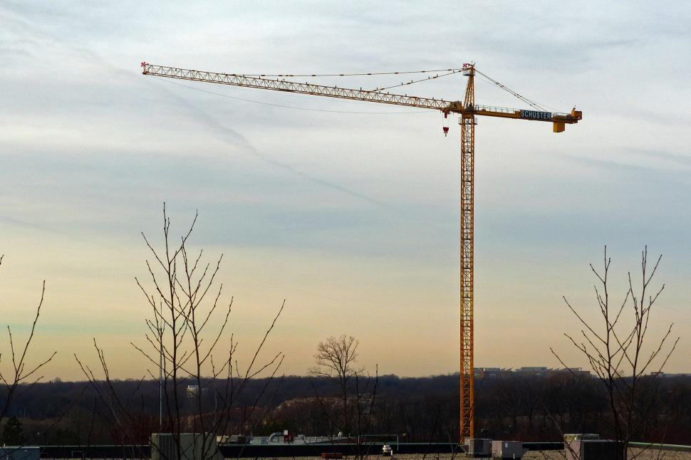 Download Free Stock HD Photo of Large Crane At Dawn Online