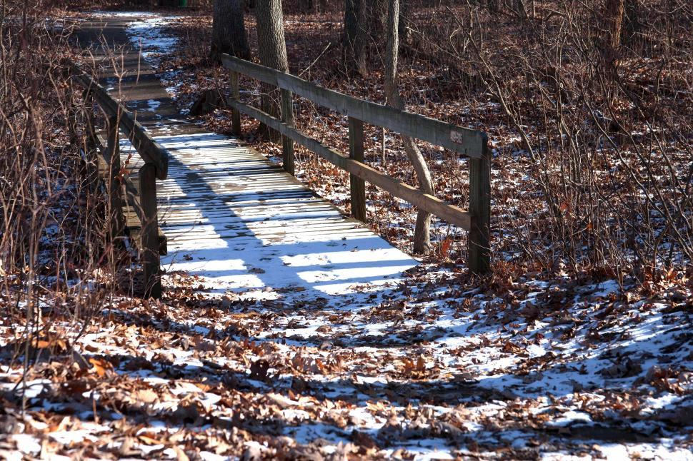 Download Free Stock HD Photo of Snow On Wooden Bridge Online