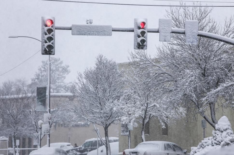 Download Free Stock HD Photo of Snowy traffic lights Online