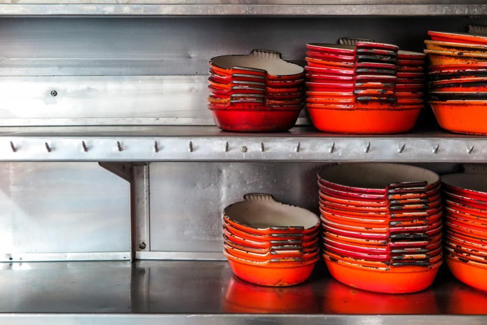 Download Free Stock HD Photo of Cast Iron skillets on a shelf Online