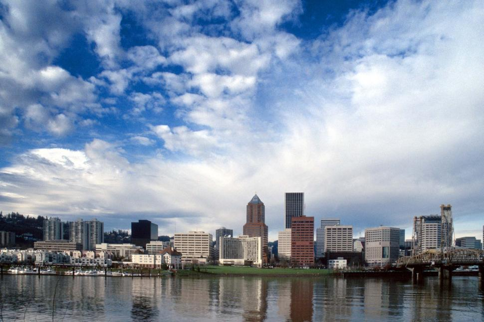Free image of View of Portland Oregon skyline from across the river.